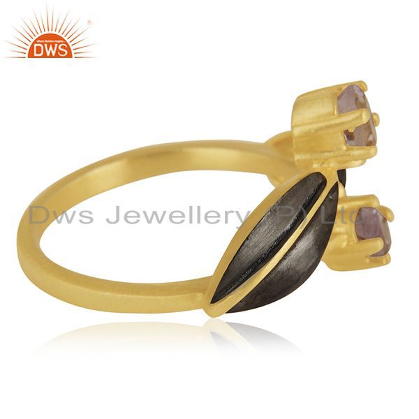 Suppliers Indian Handmade 18k Yellow Gold Plated Over Brass Natural Gemstone Amethyst Ring