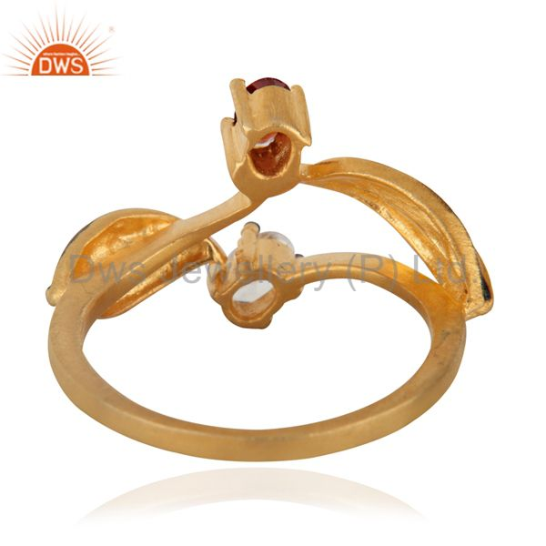 Suppliers Dazzling Red Glass Gemstones And CZ 18k Gold Over Brass Fashion Ring