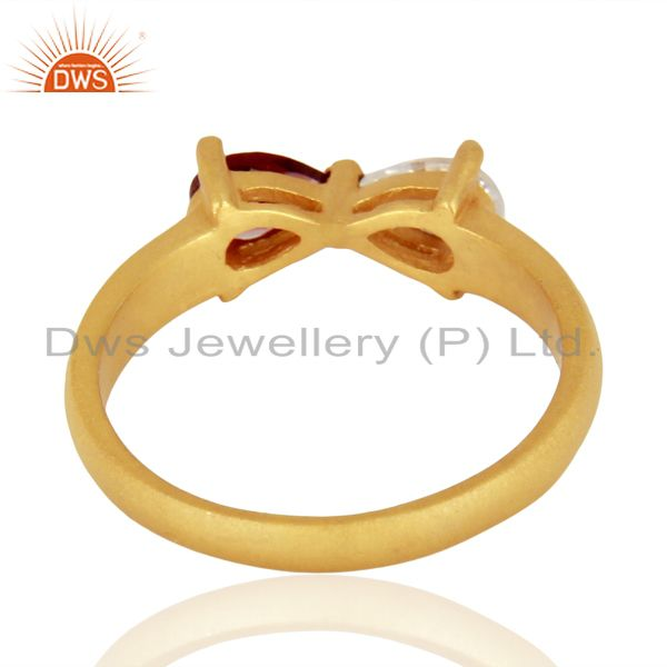 Suppliers 22K Yellow Gold Plated Brass Natural Garnet And Cubic Zirconia Fashion Ring