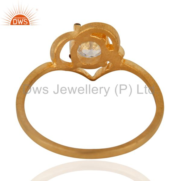 Suppliers Handmade Ladies White Gleaming Cubic Zircon 18K Yellow Gold Plated Fashion Ring