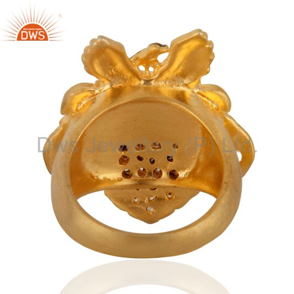 Suppliers Women Party Jewelry Pave Set Round Cubic Zircon Yellow Gold Plated UK Sign Ring