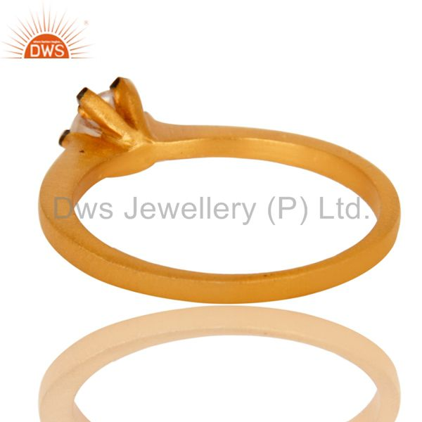 Suppliers 18K Yellow Gold Plated White Cubic Zirconia Solitaire Womens Engagement Ring