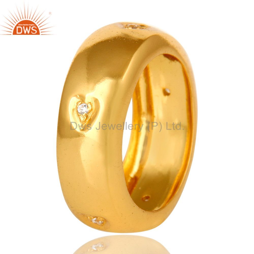 Suppliers 14K Yellow Gold Plated Brass Cubic Zirconia Engagement Wedding Band Ring