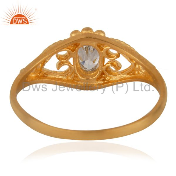 Suppliers 18K Gold Plated Fashion Jewelry Handmade White Zircon Engagement Unique Ring