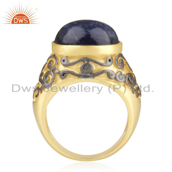 Suppliers 18K Yellow Gold Plated Brass Sodalite Gemstone Cocktail Ring