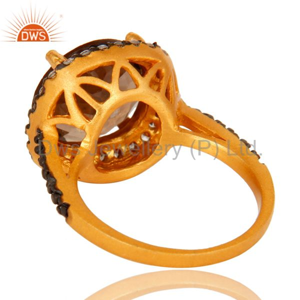 Suppliers 22K Yellow Gold Plated Brass Smoky Quartz And Cubic Zirconia Ladies Fashion Ring