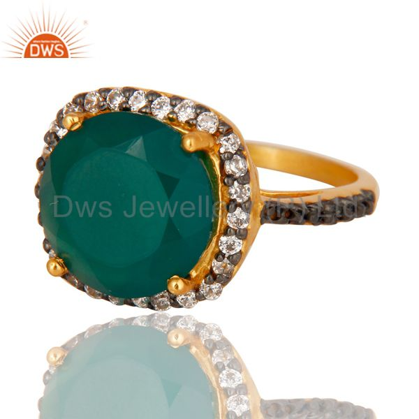 Suppliers 22K Yellow Gold Plated Brass Green Onyx And Cubic Zirconia Ladies Fashion Ring