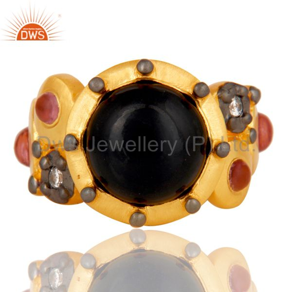Suppliers 22K Matte Yellow Gold Plated Brass Black Onyx Designer Fashion Ring With CZ