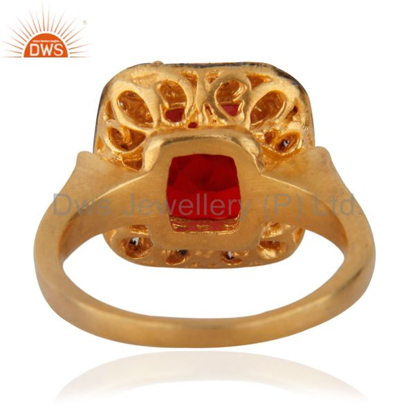 Suppliers Attractive Red & White Zircon CZ 18k Yellow Gold GP Girls Child Kid Rings SZ 3.5
