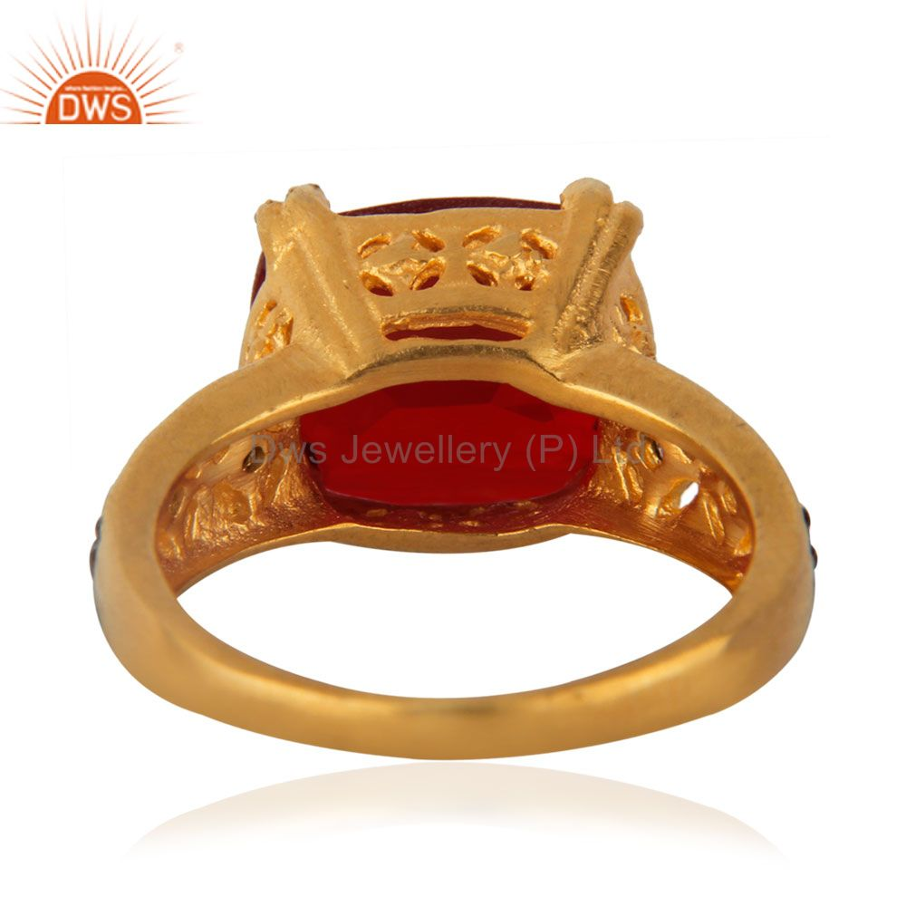 Suppliers Dark Garnet Red Glass Cubic Zirconia 18K Yellow Gold Plated Ring Gift For Womens
