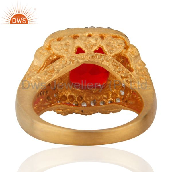Suppliers Antique 18K Yellow Gold Plated Simulated Cubic Diamond Red Glass Ruby Color Ring