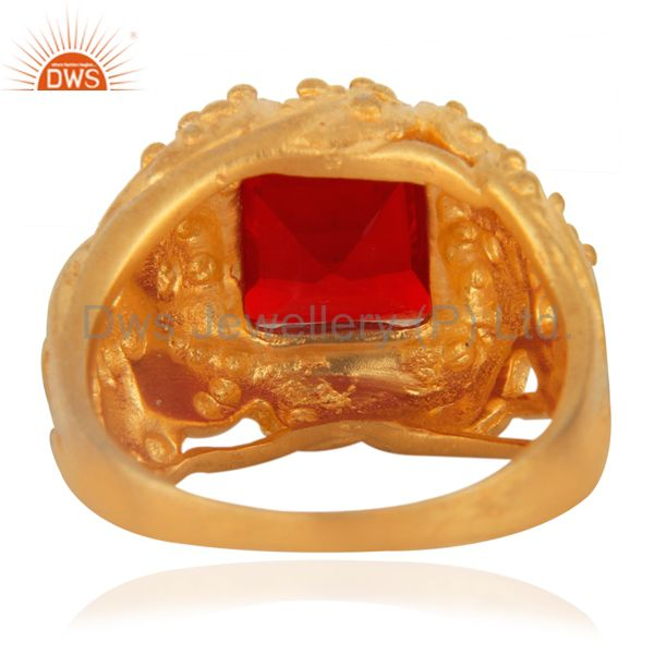 Suppliers Leaf design Vintage Look 18k Gold Plated Synthetic Gemstone Fashion Ring Jewelry