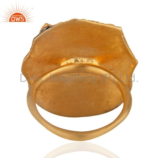 Suppliers 24k Yellow Gold Plated Over Brass Fashion Women Lady Pink CZ Fashion Women Ring