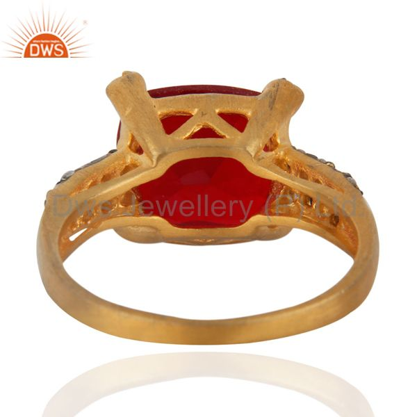 Suppliers New White Cubic Zircon 24k Yellow Gold Plated Fashionable Elegant Ring