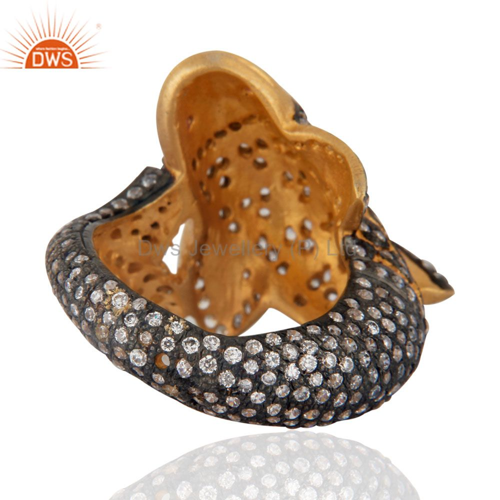 Suppliers Beautiful Cute Fish Designer Simulated Diamond Fashion Ring With 18K Gold Plated