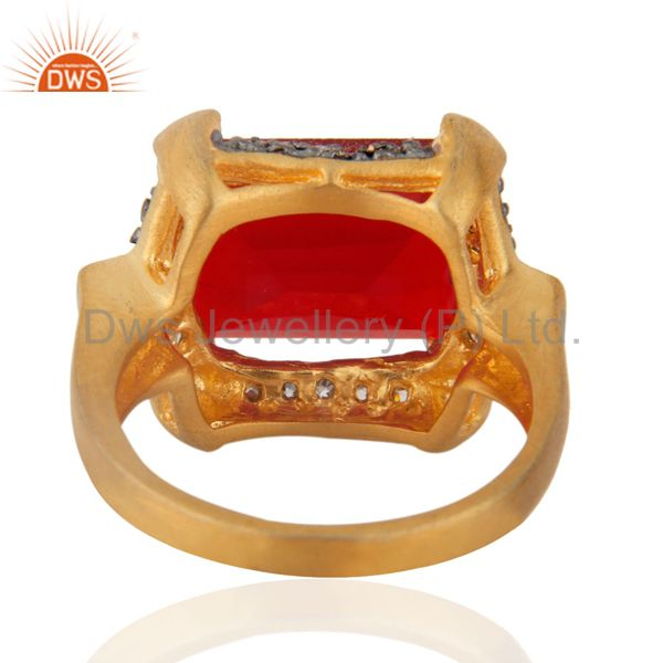 Suppliers Cheap Fashion Garnet Color Red Glass Cocktail Yellow Gold Plated Zircon Ring sz