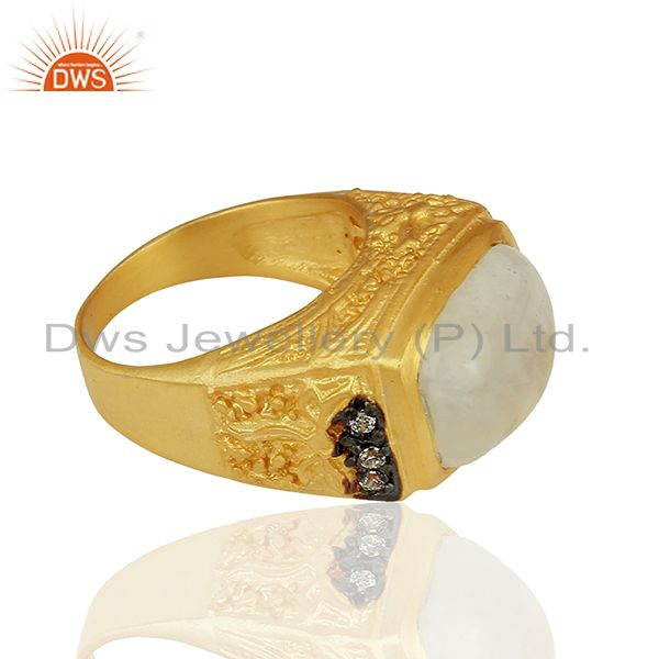 Suppliers 14K Yellow Gold Plated Brass Rainbow Moonstone Designer Ring With CZ