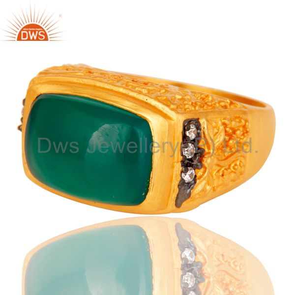 Suppliers 14K Yellow Gold Plated Brass Designer Ring With Green Onyx And White Zircon