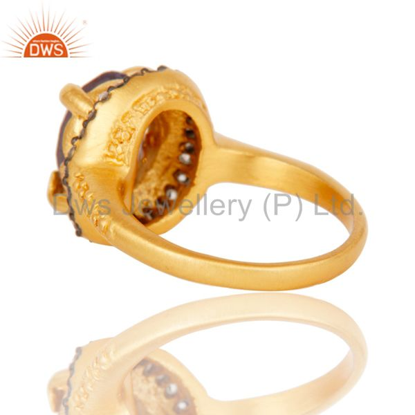 Suppliers Natural Amethyst Prong Setting Gemstone White Zircon 18K Gold Plated Brass Ring