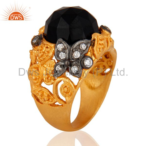 Suppliers 18K Yellow Gold Plated Black Onyx And Cubic Zirconia Cocktail Ring