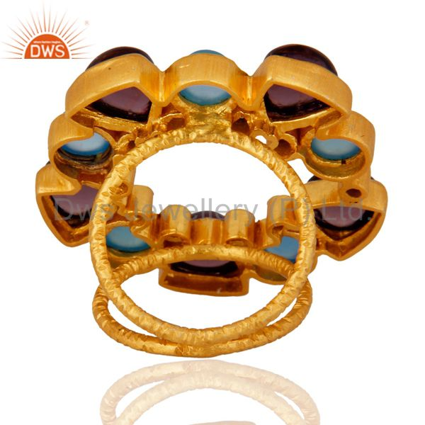 Suppliers Handmade Chalcedony Designer Gemstone Ring With 18k Yellow Gold Plated Jewelry