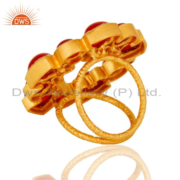Suppliers Natural Red Aventurine 22K Yellow Gold Plated Split Shank Ring With CZ