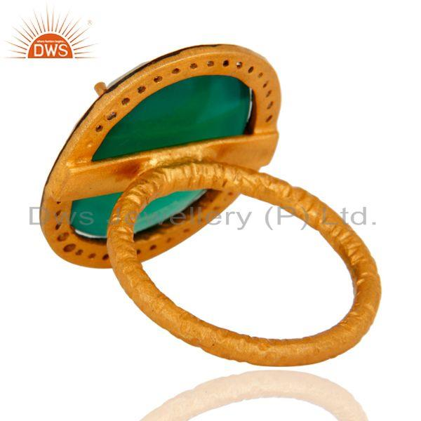 Best Quality Natural Faceted Green Onyx Gemstone Prong Set 22k Gold Plated Ring With CZ