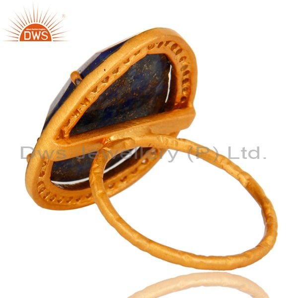 Suppliers 14K Yellow Gold Plated Sterling Silver Lapis Lazuli Gemstone Cocktail Ring