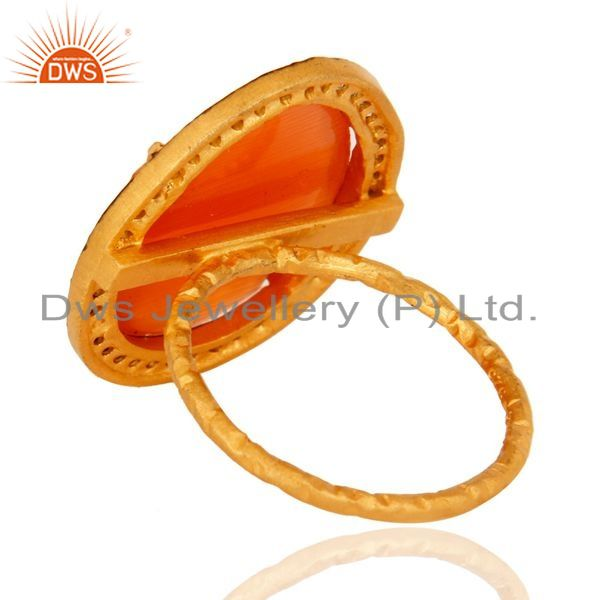 Suppliers Solid 925 Sterling Silver CZ AND Peach Moonstone Ring With Gold Plated
