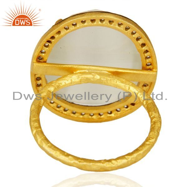 Suppliers 14K Gold Plated 925 Sterling Silver White Moonstone White Zircon Statemet Ring