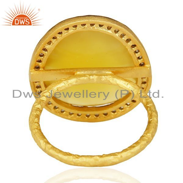 Suppliers 14K Gold Plated Sterling Silver Yellow Chalcedony White Zircon Statement Ring