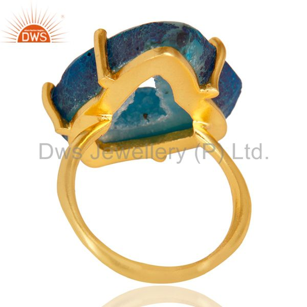Suppliers Natural Druzy Slice Prong Set Gemstone 24K Yellow Gold Plated Ring