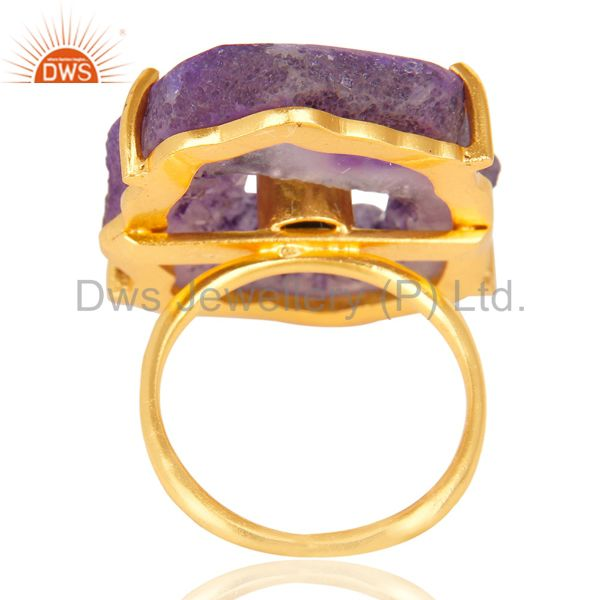 Suppliers Prong Set Pink Druzy Raw Geode Slice Gold Plated Brass Handmade Ring