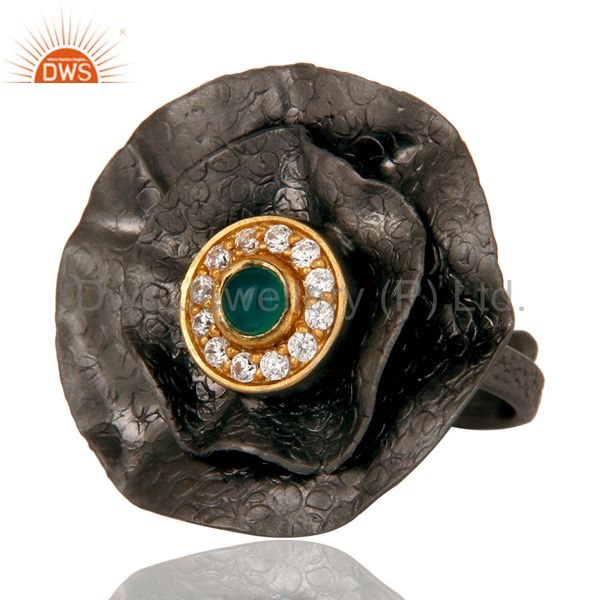 Suppliers Black Oxidized Green Onyx and White Zircon Textured Folied Adjustable Ring