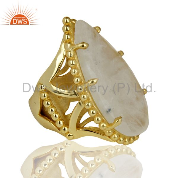 Suppliers 14K Yellow Gold Plated Handmade Rainbow Moonstone Gemstone Statement Ring