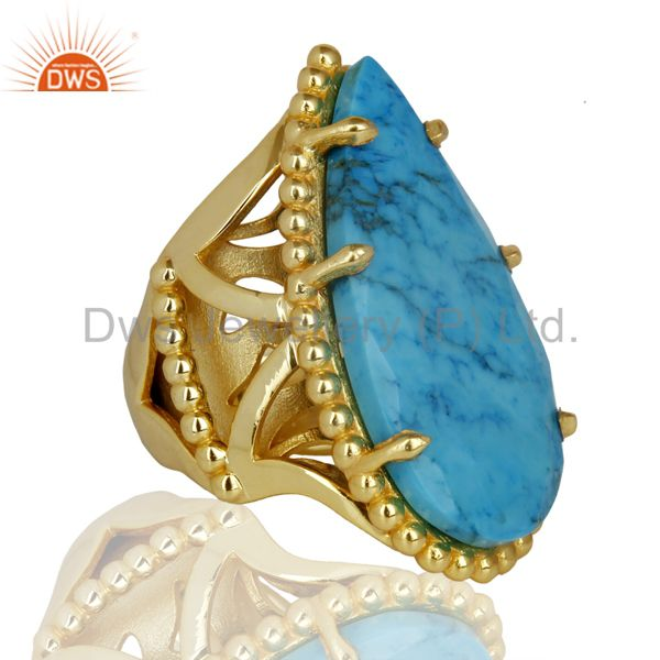 Suppliers 14K Gold Plated Handmade Turquoise Prong Setting Statement Ring