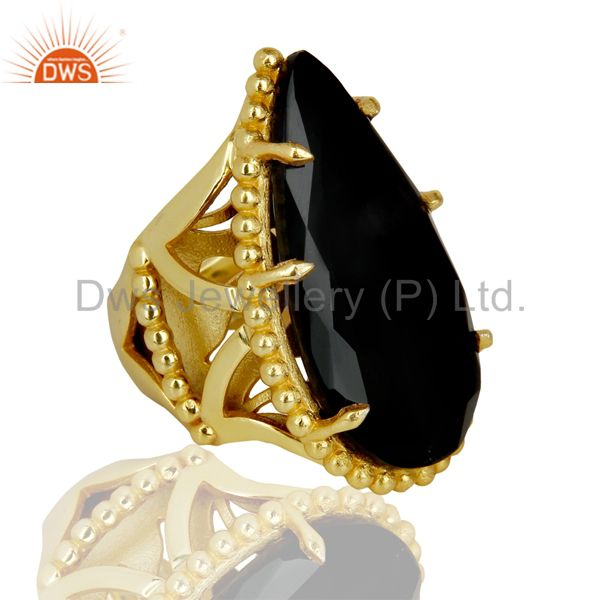 Suppliers 14K Gold Plated Handmade Black Onyx Prong Setting Statement Ring