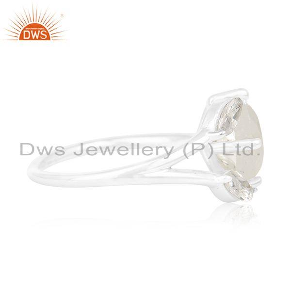 Suppliers Zircon and Rainbow Moonstone Silver Plated Brass Fashion Designer Ring Suppliers