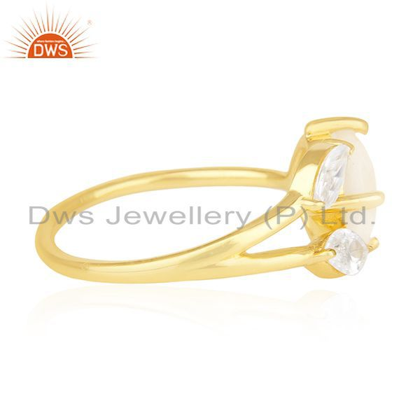 Suppliers Rainbow Moonstone and Cz 18k Gold Plated Designer Fashion Ring Manufacturer