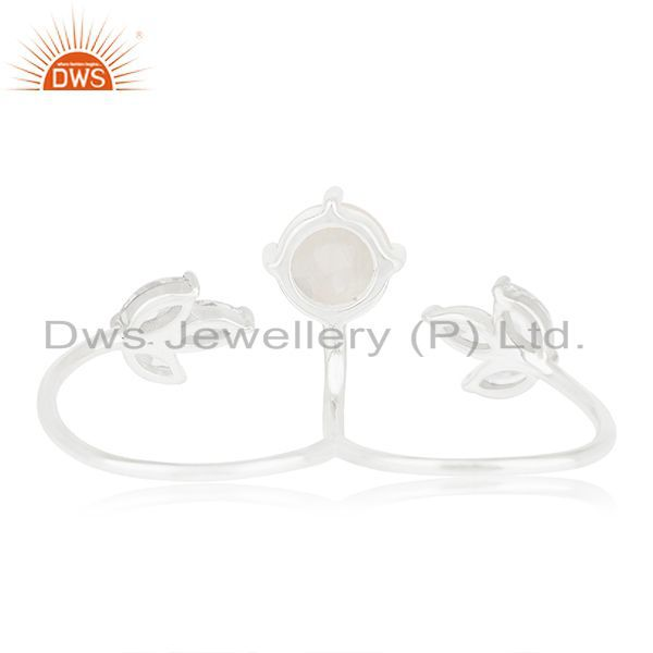 Suppliers Handmade Fine Silver Plated Rainbow Moonstone Double Finger Ring Manufacturers