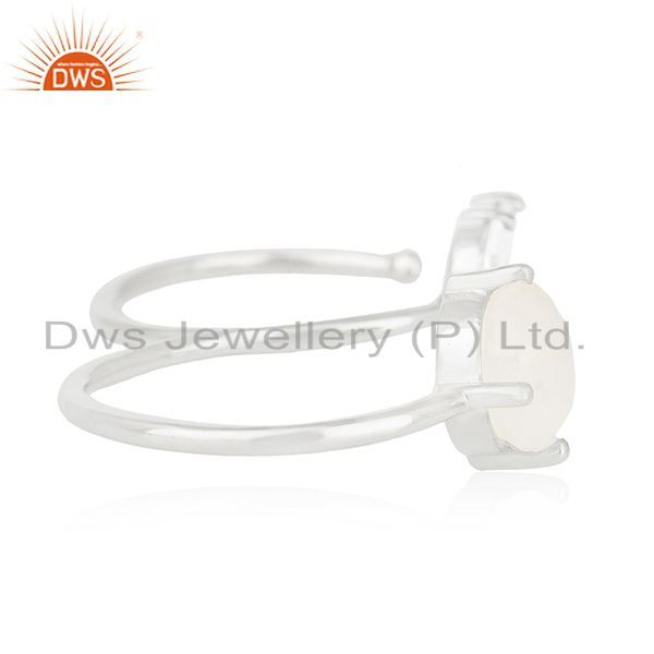Suppliers Handmade Silver Plated Brass Fashion Gemstone Double Finger Ring Manufacturer