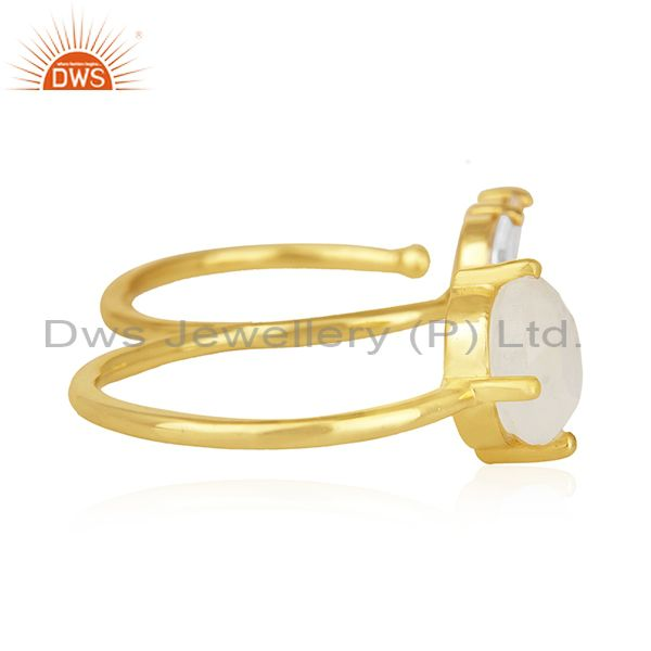 Suppliers Rainbow Moonstone Fashion Gold Plated Brass Double Finger Ring Manufacturer