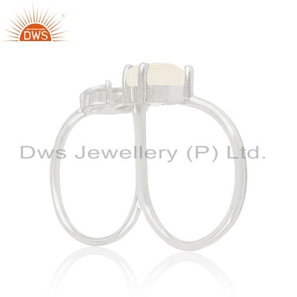 Suppliers Fine Silver Plated Brass White Zircon and Moonstone Double Finger Ring Supplier