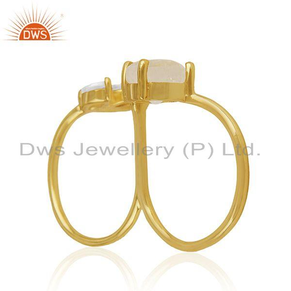 Suppliers 14k Gold Plated Brass Moonstone and Zircon Double Finger Ring Manufacturers