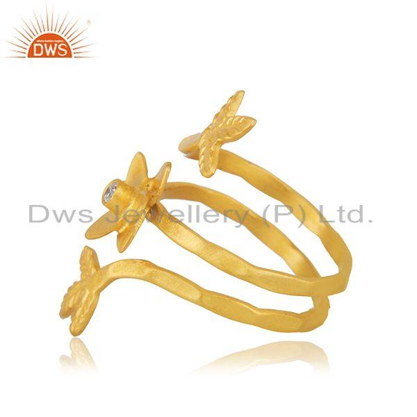 Suppliers Yellow Gold Plated White Zircon Designer Fashion Ring Manufacturer from India
