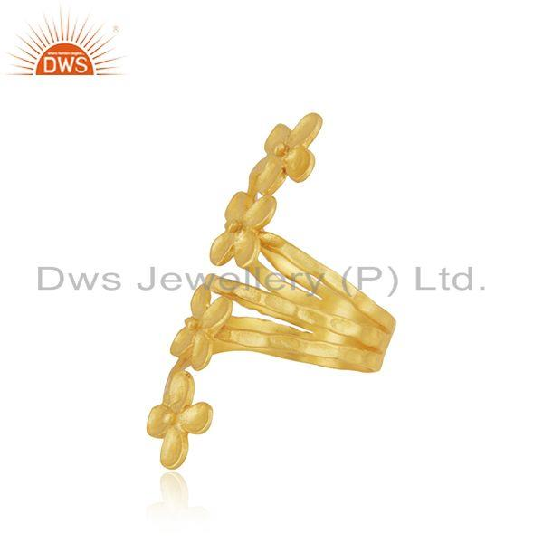 Suppliers Leaf Design Yellow Gold Plated Brass Fashion Designer Ring Wholesaler