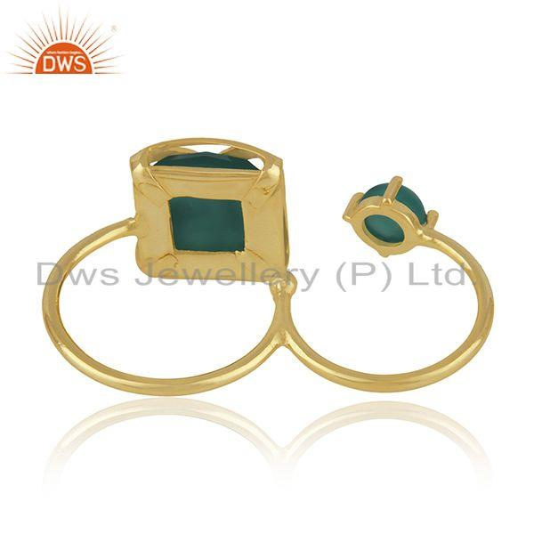 Suppliers Designer Brass 18k Yellow Gold Plated Fashion Green Onyx Gemstone Ring Wholesale