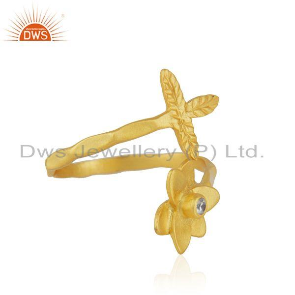 Suppliers Handmade Leaf Floral Gold Plated Brass Fashion Ring Jewelry Supplier