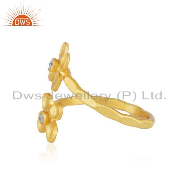 Suppliers Floral Yellow Gold Plated Designer Brass Fashion Ring Jewelry