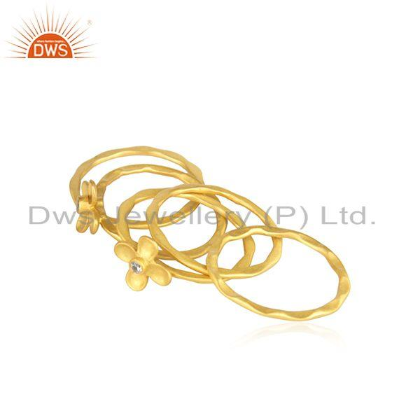 Suppliers Manufacturer Gold Plated Designer Brass Fashion 5 Ring Set Jewelry